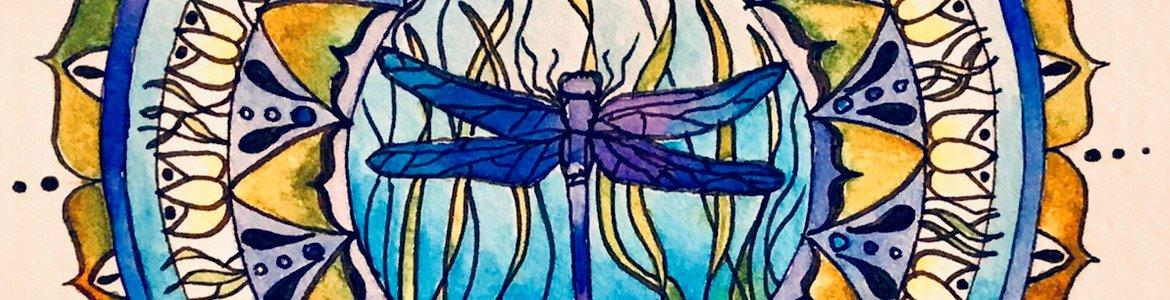 Dragonfly Watercolor Mandala