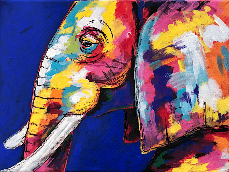 Colorful Elephant Paint Night, Cronquist House, Red Deer
