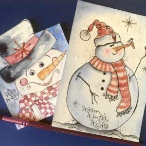 Snowmen Watercolor cards